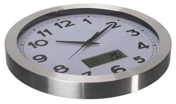 Relógio Parede Analógico Alumínio (Ø 35cm) c/ Display LCD ...